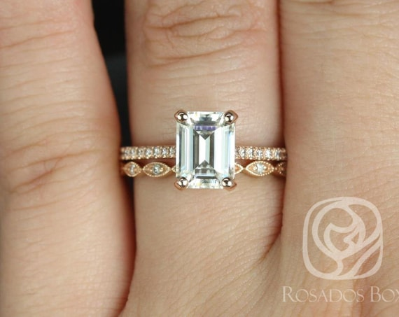 1.75ct Emerald Forever One Moissanite Diamonds Vintage Art Deco Wedding Set Rings,14kt Rose Gold Wilma 8x6mm & Ult Pte Leah,Rosados Box