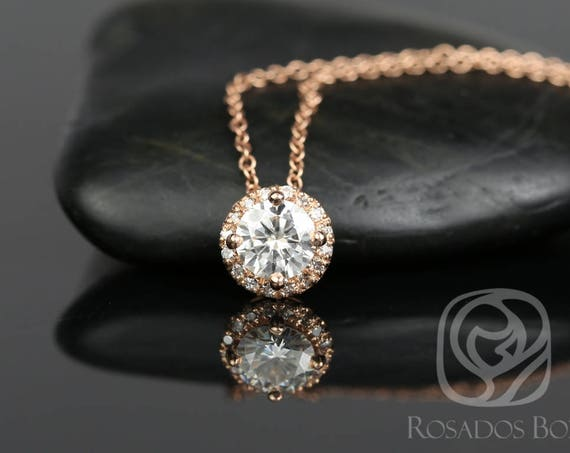 Rosados Box Ready to Ship Gemma 5mm 14kt WHITE Gold Round F1- Moissanite and Diamonds Halo Floating Necklace