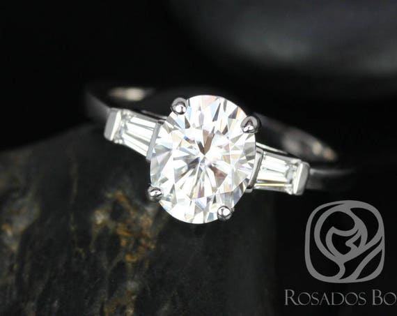 2cts Oval Forever One Moissanite Diamond Baguette 3 Stone Engagement Ring, 14kt Solid White Gold, Fannie 9x7mm, Rosados Box