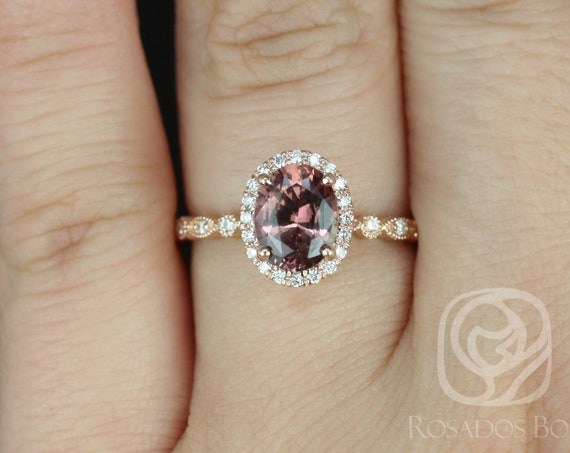 1.49ct Oval Cinnamon Red Sapphire Diamond Vintage Dainty Art Deco Halo WITH Milgrain Ring,14kt Gold,Ready to Ship Gwen 1.49cts,Rosados Box
