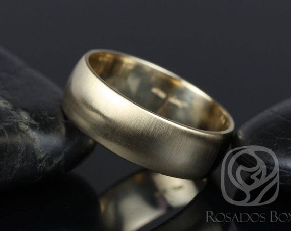 Rosados Box Steve 7mm 14kt Yellow Gold Oval Plain Non-Comfort Fit Matte or High Finish Band (Chic Classics Collection)