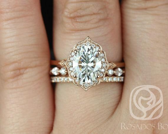 Rosados Box Mae 9x7mm, Cher, & Tabitha 14kt Rose Gold Oval F1- Moissanite and Diamond Halo TRIO Wedding Set