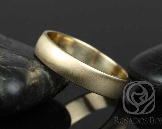 Rosados Box Steve 5mm 14kt Yellow Gold Oval Plain Non-Comfort Fit Matte or High Finish Band (Chic Classics Collection)