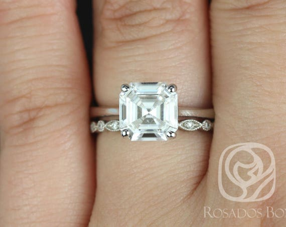 Rosados Box Skinny Denise 8mm & Gwen 14kt White Gold Asscher F1- Moissanite and Diamonds Tulip Cathedral Solitaire Wedding Set