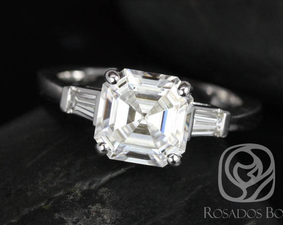2.20cts Asscher Forever One Moissanite Diamond Baguette 3 Stone Engagement Ring, 14kt Solid White Gold, Ready to Ship Fae 8mm, Rosados Box