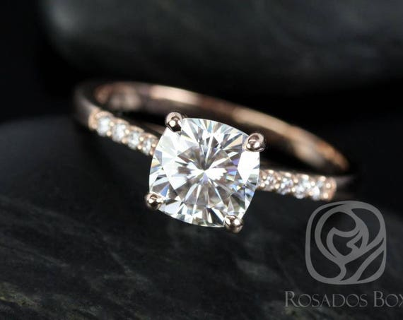 Rosados Box Mila 7mm 14kt Rose Gold Cushion F1- Moissanite Solitaire Diamonds Engagement Ring