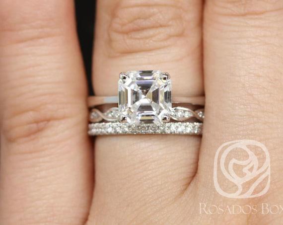 Rosados Box Skinny Denise 8mm, Ember, & Pernella  14kt White Gold Asscher F1- Moissanite and Diamonds Cathedral TRIO Wedding Set