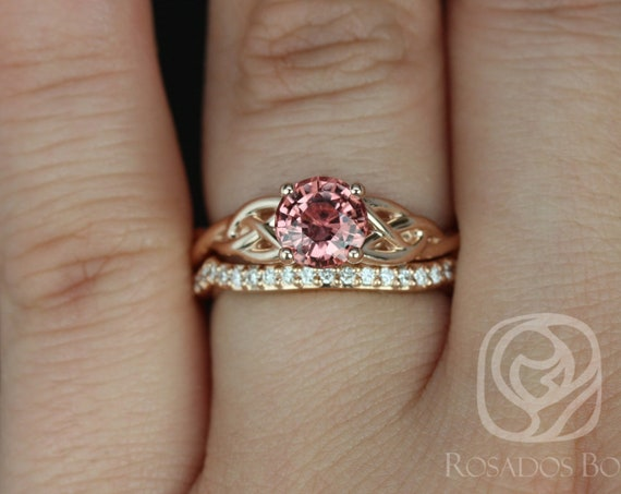Rosados Box Ready to Ship Cassidy 1.34cts 14kt Rose Gold Round Rustic Fire Sapphire and Diamonds Celtic Wedding Set