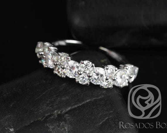 Forever One Moissanite Cluster Garland HALFWAY Eternity Band Ring,14kt Solid White Gold,DIAMOND FREE Hazel,Rosados Box
