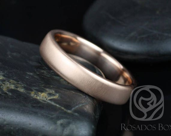 Ready to Ship Rosados Box Dax 5mm 14kt Rose Gold Rounded Pipe MATTE Finish Band (Chic Classics Collection)