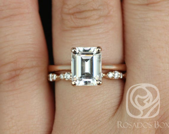 Rosados Box Skinny Norma 9x7mm & Penny 14kt Rose Gold Emerald Forever One Moissanite Diamond Cathedral Wedding Set