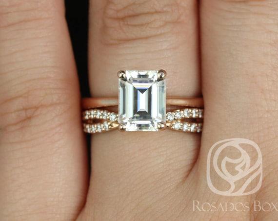 Rosados Box Skinny Norma 9x7mm & Bree 14kt Rose Gold Emerald F1- Moissanite and Diamonds Wedding Set