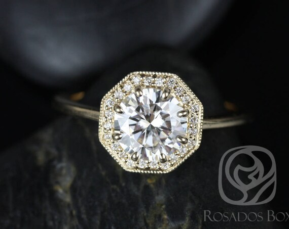 1.25ct Winona 7mm 14kt Gold Forever One Moissanite Diamonds Art Deco Vintage Octagon Halo WITH Milgrain Engagement Ring,Rosados Box