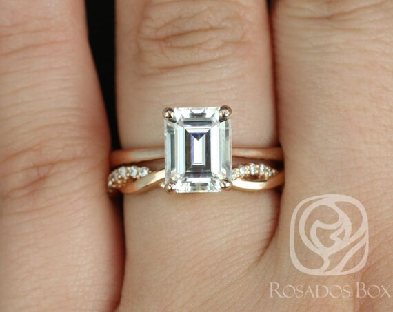 Rosados Box Skinny Norma 9x7mm & Dusty 14kt Rose Gold Emerald Forever One Moissanite Diamond Cathedral Wedding Set