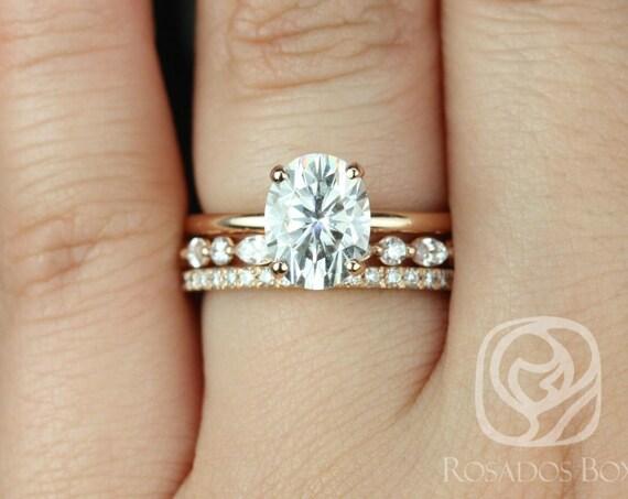 Rosados Box Dakota 9x7mm, Cher, & Tabitha 14kt Rose Gold Oval F1- Moissanite and Diamonds Thin TRIO Wedding Set