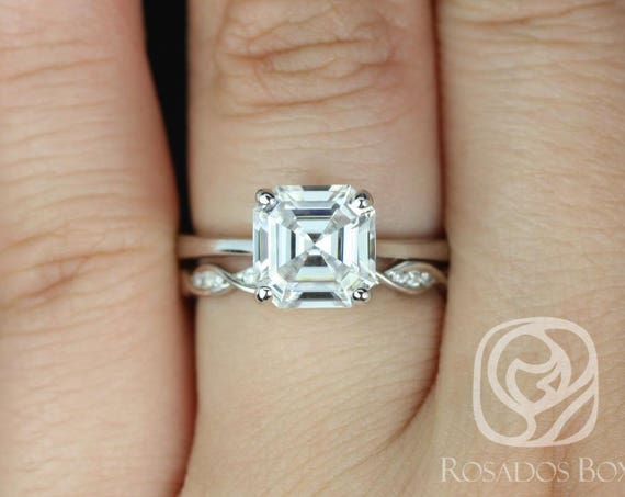 Rosados Box Skinny Denise 8mm & Ember 14kt White Gold Asscher F1- Moissanite and Diamonds Tulip Cathedral Solitaire Wedding Set