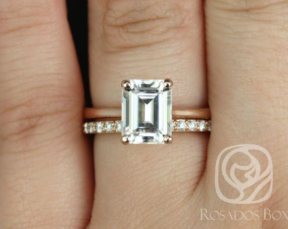 Rosados Box Skinny Norma 9x7mm & Taylor 14kt Rose Gold Emerald Forever One Moissanite Diamond Cathedral Wedding Set