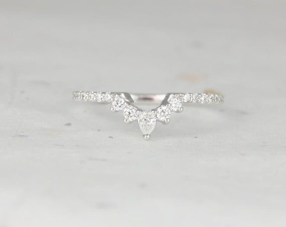 Rosados Box Riri 14kt White Gold Tiara Crown Dainty Diamonds Cluster Wedding Band Nesting Ring