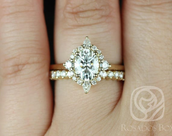 1.50cts Maris 8x6mm14kt Gold Forever Moissanite Diamonds Star Unique Oval Halo Wedding Set Rings,Rosados Box