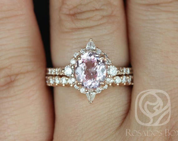 1.86cts Oval Blush Champagne Spinel Diamonds Star Halo Wedding Set Rings,14kt Solid Rose Gold,Ready to Ship Jadis 1.86cts,Rosados Box