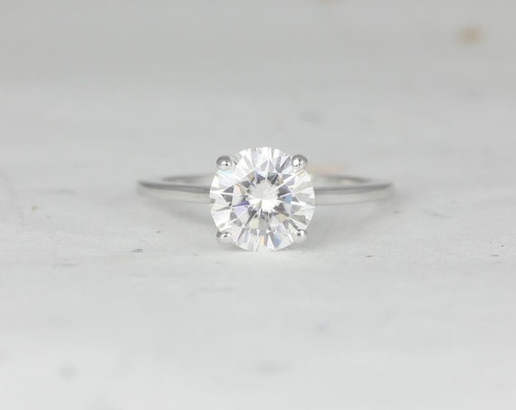 2ct Dixie 8mm 14kt White Gold 2ct Forever One Moissanite Dainty Low Cathedral Round Solitaire Engagement Ring,Rosados Box