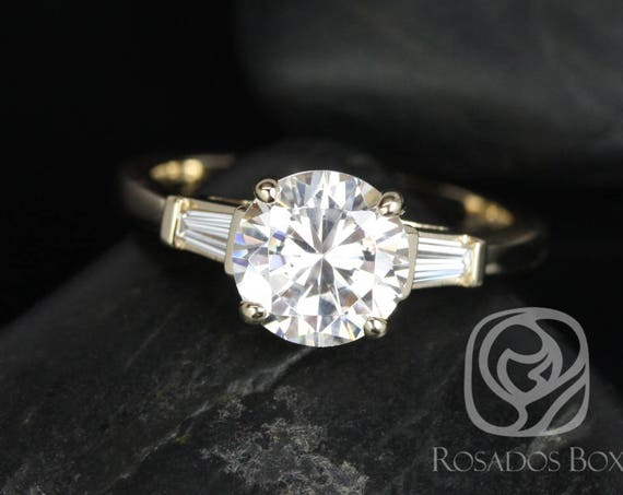 2cts Round Forever One Moissanite Diamond Baguette 3 Stone Engagement Ring, 14kt Solid Yellow Gold, Francis 8mm, Rosados Box