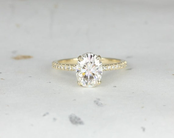 2ct EXTRA LOW Viviana 9x7mm 14kt Solid Gold Oval Forever One Moissanite Diamond Scarf Hidden Pave Halo Engagement Ring,Rosados Box
