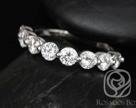 Ready to Ship DIAMOND FREE Naomi 3.5mm 14kt White Gold Forever One Moissanite Single Prong Floating HALFWAY Eternity Band Ring,Rosados Box