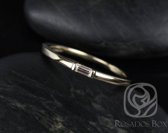 Rosados Box Michelle 14kt Yellow Gold Baguette Diamond Extra Low Thin Skinny Ring