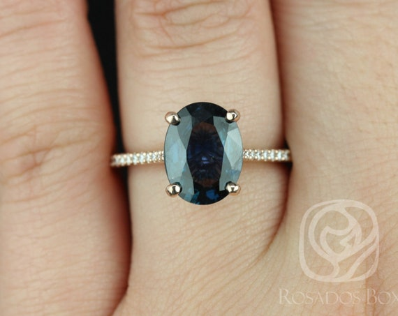 3.23ct Oval Deep Teal Blue Sapphire Thin Cathedral Solitaire Engagement Ring,14kt Solid Rose Gold,Ready to Ship Blake 3.23cts,Rosados Box