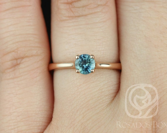 Rosados Box Ready to Ship Skinny Flora 0.65cts 14kt Rose Gold Round Teal Blue Sapphire Classic Engagement Ring