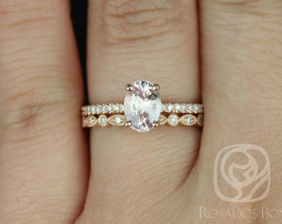1.60ct Oval Blush Peach Sapphire Diamonds Thin Pave Solitaire Wedding Set Rings,14kt Rose Gold,Ready to Ship Darcy 1.60ct & Gwen,Rosados Box