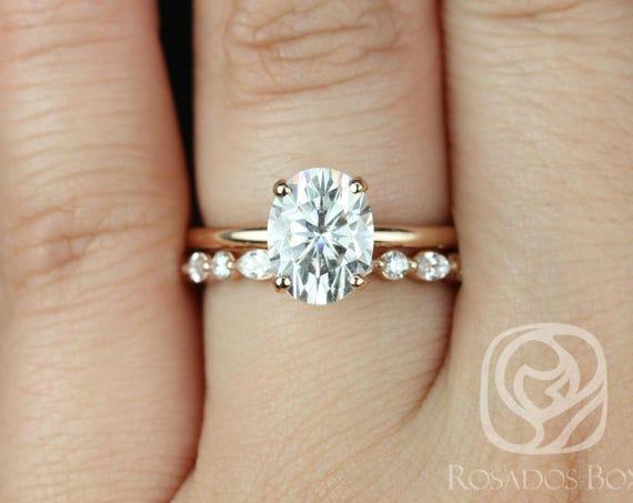 Rosados Box Dakota 9x7mm & Cher 14kt Rose Gold Oval F1- Moissanite and Diamonds Thin Wedding Set