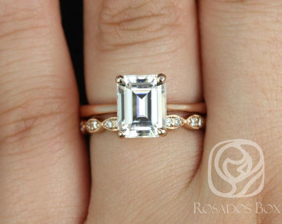 Rosados Box Skinny Norma 9x7mm & Christie 14kt Rose Gold Emerald Forever One Moissanite Diamond Cathedral Wedding Set
