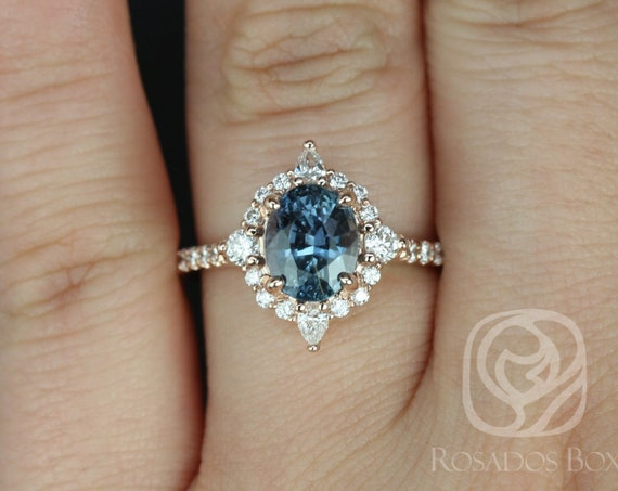 2.15cts Oval Teal Blue Sapphire Diamonds Star Unique Halo Engagement Ring, 14kt Solid Rose Gold, Ready to Ship Jadis 2.15cts, Rosados Box