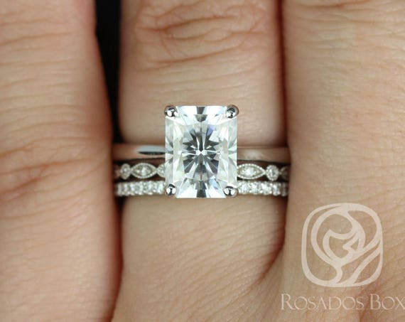 Rosados Box Skinny Nancy 9x7mm, Gwen, & Kubian 14kt White Gold Radiant Forever One Moissanite Diamonds TRIO Wedding Set