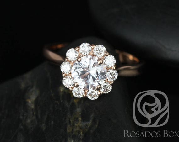 SALE Rosados Box Ready to Ship Blossom 1.17cts 14kt Rose Gold Round White Sapphire Diamonds Flower Halo Engagement Ring