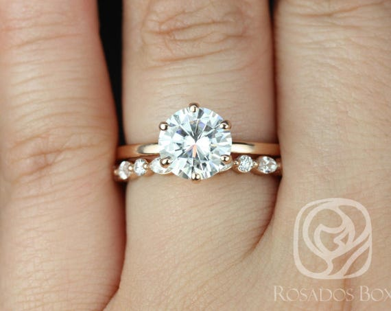 Rosados Box Elaine 8mm & Cher 14kt Rose Gold Round F1- Moissanite and Diamonds Six-Prong Skinny Wedding Set