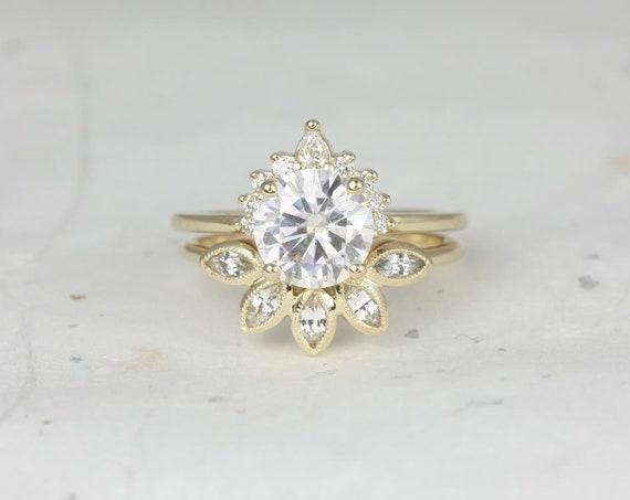 Rosados Box Kylie 8mm & Petunia 14kt Yellow Gold Round F1- Moissanite Diamonds Sapphire Crescent Leaves Wedding Set