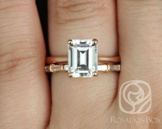 Rosados Box Skinny Norma 9x7mm & Baguettella 14kt Rose Gold Emerald F1- Moissanite and Diamonds Wedding Set