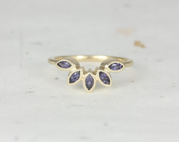 Rosados Box DIAMOND FREE Petunia 14kt Yellow Gold Iolite Leaves WITH Milgrain Tiara Ring