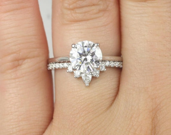 Ready to Ship Dixie 8mm & Riri 14kt White Gold 2ct Moissanite GHI Diamonds Thin Extra Low Round Solitaire Wedding Set Rings,Rosados Box