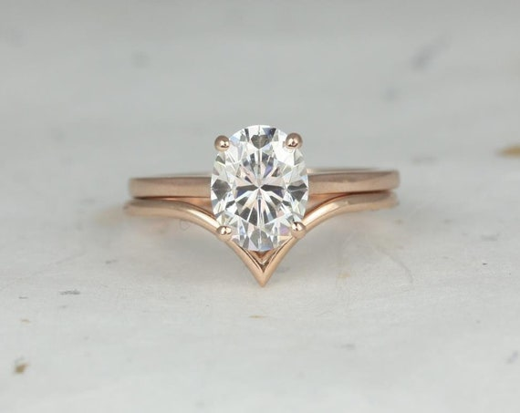Rosados Box Delia 9x7mm & Willow 14kt Rose Gold Oval F1-  Moissanite Extra Low Thin Skinny Wedding Set