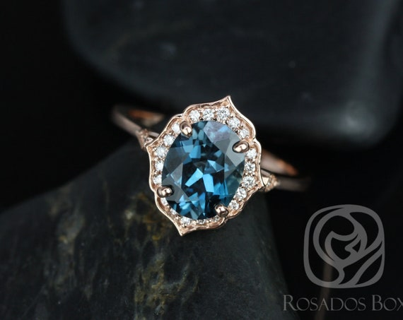 Rosados Box Mae 9x7mm 14kt Rose Gold Oval London Blue Topaz and Diamond Halo WITHOUT Milgrain Engagement Ring