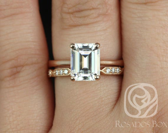 Rosados Box Skinny Norma 9x7mm & Stella 14kt Rose Gold Emerald Forever One Moissanite Diamond Cathedral Wedding Set