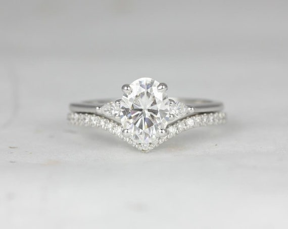1.50cts Oval Forever One Moissanite Diamond Pear 3 Stone Wedding Set Rings, 14kt Solid White Gold,  Petite Emery 8x6mm & Chevy, Rosados Box