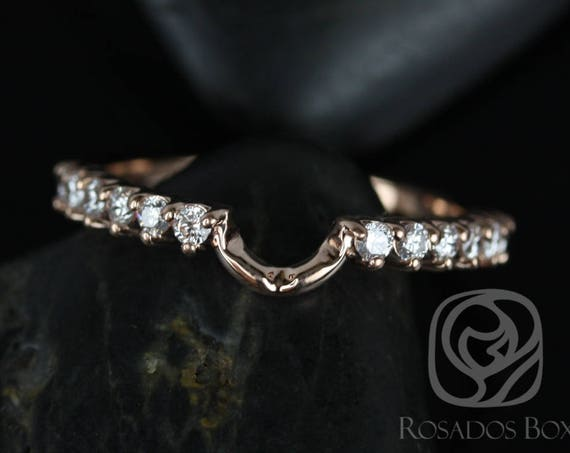 Diamonds Curved Matching Band to 8x6mm Jadis/Maris/Electra/Eluma HALFWAY Eternity Ring,14kt Solid Rose Gold,Rosados Box