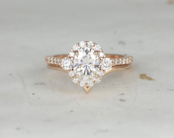 Rosados Box Bridgette 8x6mm & Willow 14kt Rose Gold Oval Forever One Moissanite Diamonds Halo Chevron Wedding Set