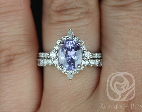 2.34ct Oval Lavender Purple Sapphire Diamond Star Unique Halo Wedding Set Rings,14kt Solid White Gold,Ready to Ship Jadis 2.34ct,Rosados Box