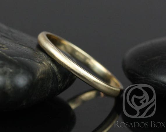 Rosados Box Steve 2mm 14kt Yellow Gold Oval Plain Non-Comfort Fit Matte or High Finish Band (Chic Classics Collection)